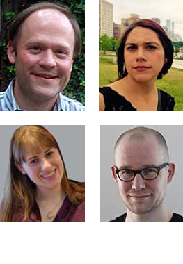 Clockwise from top left: J.J. Allaire, Kylie Bemis, Nils Gehlenborg, Michelle Borkin